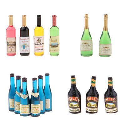 MagiDeal 1/12 Dollhouse Miniature Wine Bottles Champagne Drink Bottles Mixed