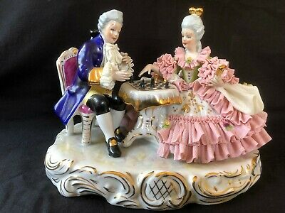 antique german porcelain. Dresden group  playing chess. Marked Bottom