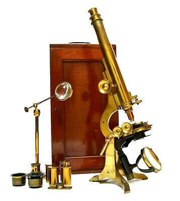 Fine antique compound microscope, J H Steward of London, LARGE proportions