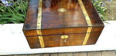 Walnut & brass writing slope with  lock &key &2 genuine  bakerlite inkwells.nice
