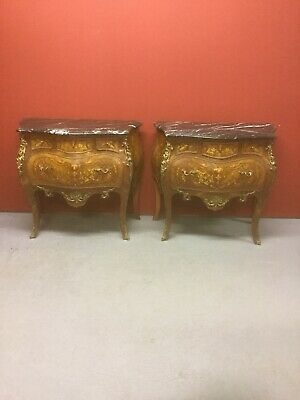 Pair Of bombe shaped French Italian marble kingwood ormolu chest of drawers Sn-p