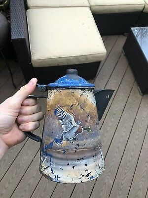 Antique Americana Folk Art Hand Painted Coffee Pot Flying Goose Bird Vintage