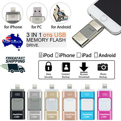 128GB i Flash Drive USB Memory Stick HD U Disk 3 in 1 for Android IOS iPhone PC