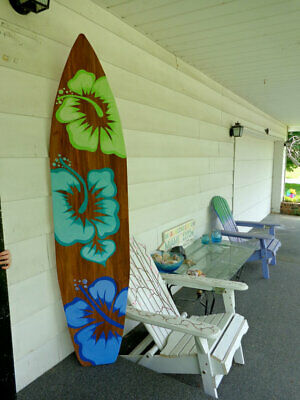 6 Foot Wood Surfboard Wall Art Decor Or Headboard Kids With 3 Large Hibiscus