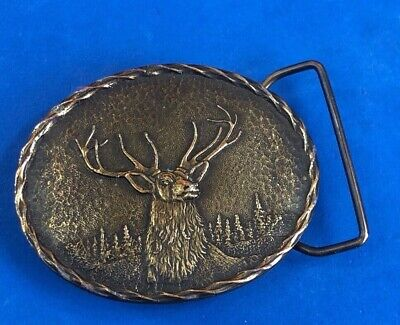Vintage Wyoming Art works belt buckle by James Lind - Deer Elk western