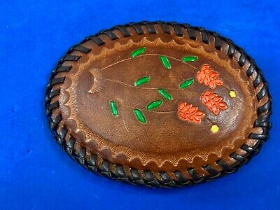 Western Artisan Stitched leather flower embroidery Belt Buckle
