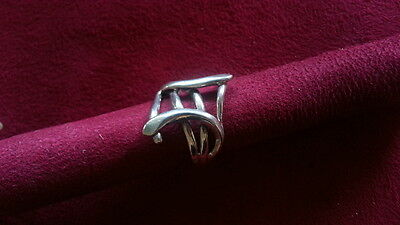 Beautiful Art Deco Swirl Solid Ring 925 Sterling Silver *Size 7.25 *A940