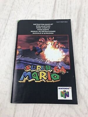 Super Mario 64 Nintendo 64 N64 Instruction Manual Book Only