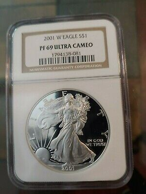 2001-W Proof American Silver Eagle Ngc Pf69 Ultra Cameo