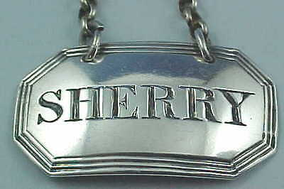 "1846 Sterling Silver Decanter Wine Label ""Sherry"" Rawlings & Summers Of London"