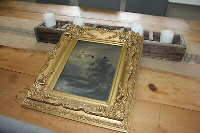 gesso frame antique gold gilded carved wood ornate 1800s baroque oil painting