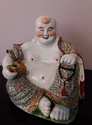 Large Antique C.20th Chinese Famille Rose Porcelain Laughing Buddha 20 cm high