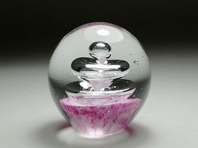 Gorgeous Pink Paperweight with Saturn Ring Bubbles