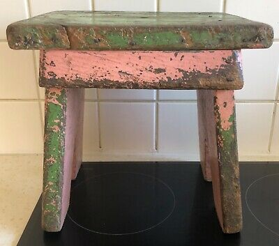 Antique Oak Or Elm Painted Stool