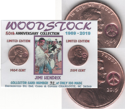 1969 2019 Lincoln Cent WOODSTOCK 50th Anniversary HENDRIX Penny Coin Card WS-03F
