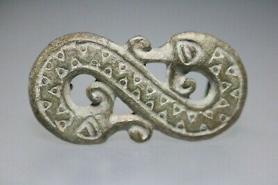 Ancient Viking Scandinavian Bronze Fibula Brooch Two Dragons  8-10th Century AD.
