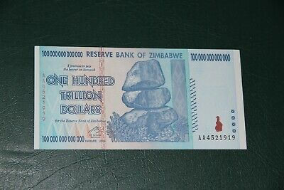2008 100 Trillion Dollars Reserve Bank Of Zimbabwe Aa P.91 Gem Uncirculated
