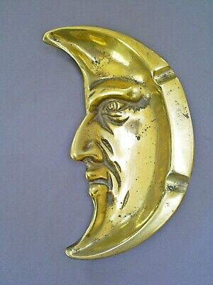 Superb Vintage English Man In The Moon Art Deco Period Solid Brass Ashtray