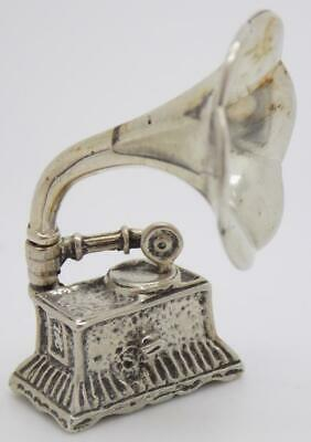Vintage Solid Silver Italian Made Large Gramophone Miniature, Figurine, Stamped