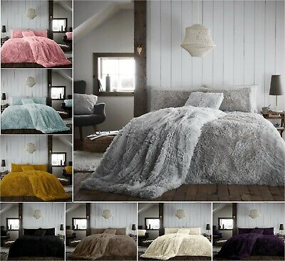 New HUG & SNUG Teddy Fleece Fluffy Duvet Cover Set Cosy Warm Soft Bedding Sets