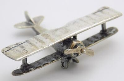 Vintage Solid Silver Italian Made World War Airplane Miniature, Figurine, Stamps