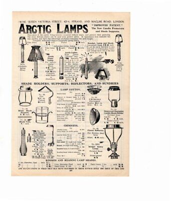 1926 Vintage Advert ARCTIC LAMPS CANDLE PROTECTORS, SHADE SUPPORTS & HOLDERS