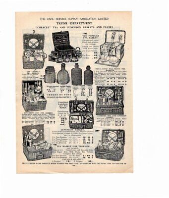 1926 Vintage Advert PICNIC BASKETS & FLASKS / TEA & LUNCHEON CASES Double Sided