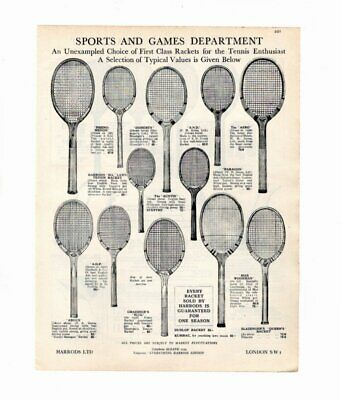 Harrods 1929 Advert TENNIS RAQUETS / TENNIS COURT MARKERS Double Sided