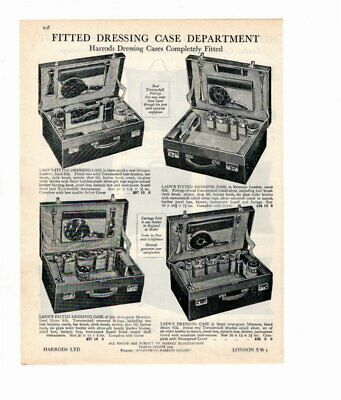 Harrods 1929 Vintage Advert DRESSING CASES / TRAVELLING CUSHIONS Double Sided
