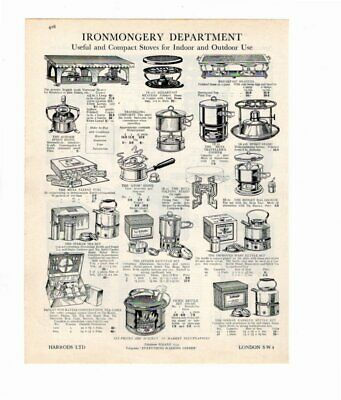 Harrods 1929 Vintage Advert OUTDOOR STOVES / SAFES Double Sided