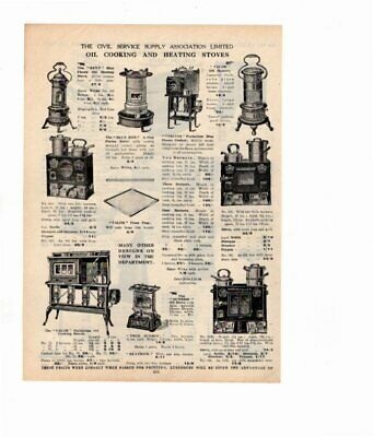 1926 Vintage Advert OIL COOKING & HEATING STOVES / COAL SAVERS  Double Sided