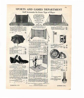 Harrods 1929 Advert GOLF ACCESSORIES / TENNIS RAQUETS Double Sided