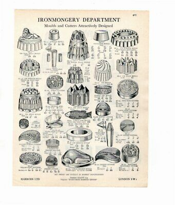 Harrods 1929 Vintage Advert Moulds & Cutters / Cake Tins & Moulds  Double Sided
