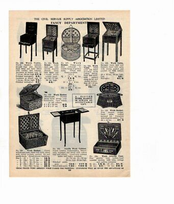 1926 Vintage Advert NEEDLE WORK BASKETS / TRAYS & BOOK RESTS  Double Sided