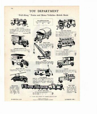 Harrods 1929 Vintage Advert GARDEN TOYS / PULL ALONG TOYS  Double Sided