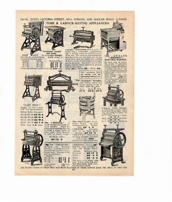 1926 Vintage Advert WRINGERS & MANGLES / BATHS & WASHSTANDS Double Sided