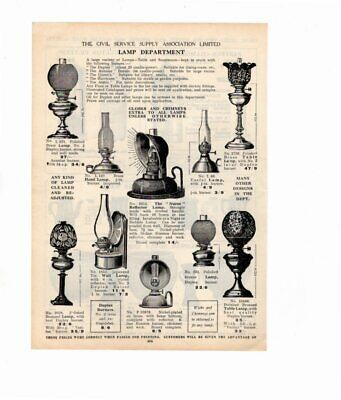 1926 Vintage Advert OIL LAMPS / WATER FILTERS  Double Sided