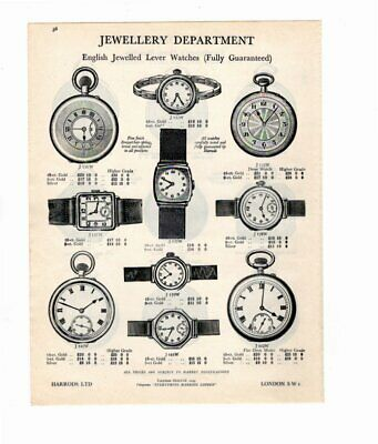 Harrods 1929 Vintage Advert POCKET WATCHES / WRISTWATCHES Double Sided
