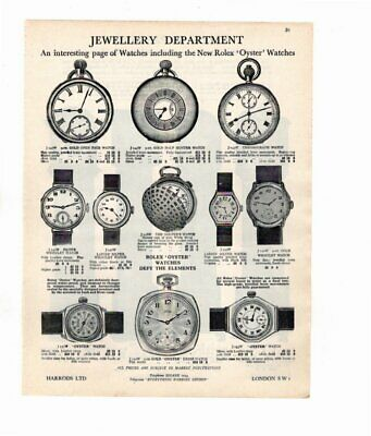 Harrods 1929 Vintage Advert ROLEX OYSTER WATCH / GRANDFATHER CLOCKS Double Sided