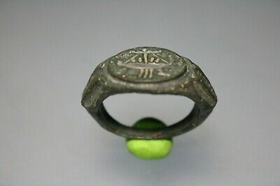 Ancient Interesting Roman Bronze Ring * Galley  1st - 4th century AD