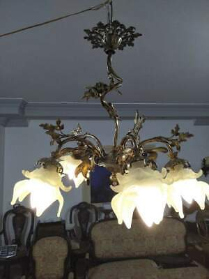 Gorgeous Chandelier Antique french Brass Vintage Lamp 5 light