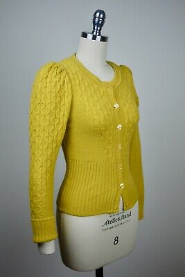 H&M Puff sleeve Mustard Yellow Wool knit Cardigan Vintage 1940s Victorian 4 6 8