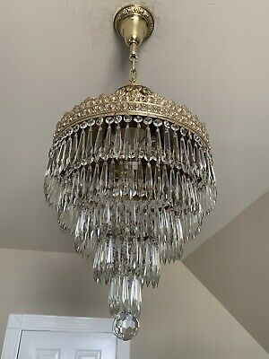 Antique Brass and Crystal 5 Tier Wedding Cake Chandelier