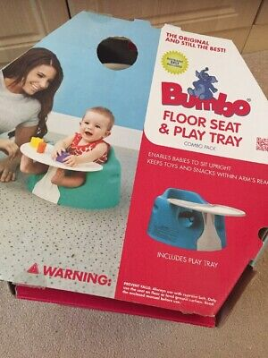 Turquoise  bumbo baby seat with tray and Straps Boxed