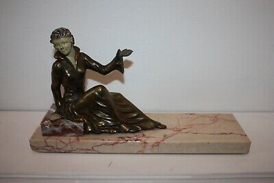Original French Art Deco Marble & Spelter figurine