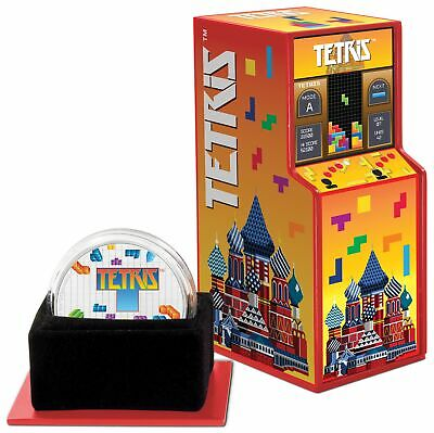 2019 1 oz .999 Silver Tetris 35th Anniversary Coin in Arcade Box
