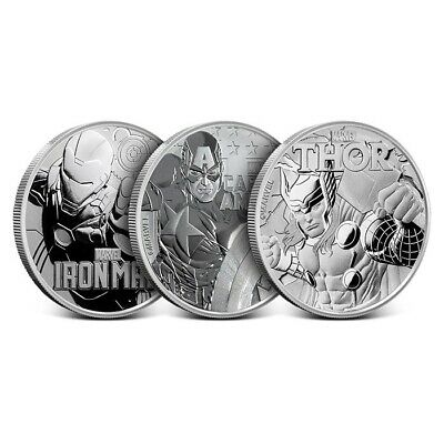 3 Piece Avengers - 1 oz Silver Marvel Series - Thor - Captain America - Iron Man
