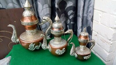 Vintage Graduated Chinese Copper Dragon Teapots x3