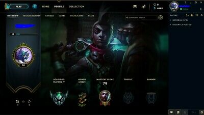 [EUW] League of Legends Plat 4 S9 24 Champions Honor 2 70% winrate LoL Account