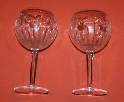 Set 2 Waterford Millennium Love Crystal Balloon Toasting Goblets Hearts